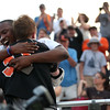 HADLEY GREEN/ Staff photo<br /> Beverly's Johnny Jones (31) hugs classmate Hugh Calice after winning the Division 2 North championship boys lacrosse game against Wakefield. 6/10/17
