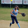 RYAN HUTTON/ Staff photo<br /> Peabody's Hailey Roach fires the ball to first to try and make the out in the top of the third inning of Thursday's game against Woburn at the Lt. Ross Park.