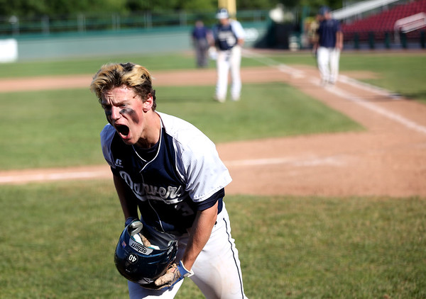 HADLEY GREEN/ Staff photo<br /> Danvers' Loic Dowd (3) lets out some frustration during the Greater New Bedford v. Danvers  Division 2 state baseball championship game. 6/15/17