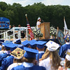 HADLEY GREEN/ Staff photo<br /> Salutatorian Crony Patel speaks to her classmates at the Danvers High School graduation ceremony. 6/10/17