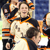 Beverly senior captain Connor Irving and the Panthers were all smiles after a dominating 9-1 win over Tewksbury in the D2 North Finals at the Tsongas Center in Lowell. DAVID LE/Staff photo 3/10/14