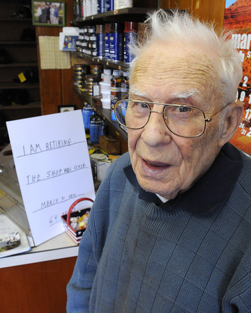 Ken Yuszkus/Staff photo: Hamilton:   Hamilton native and former Fire Chief Bob McRae is closing Mac's Shoe Repair after 64 years.