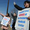 Ken Yuszkus/Staff photo: Salem: From left, Nicola Pring, Janice Oakley, and Anna Mini are part of the North Shore Medical Center Nurses informational picket which happened in front of the Salem Hospital Thursday afternoon.