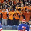 Beverly fans heckle a Tewksbury junior forward Derek Castiglione (7) who just drew a penalty during the second period of play during the D2 North Final at the Tsongas Center at UMass Lowell on Monday evening. The Panthers dominated the Redmen 9-1 to advance to the D2 State Championship next Sunday at the TD Garden. DAVID LE/Staff photo 3/10/14