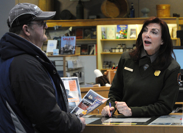 Ken Yuszkus/Staff photo: Salem:  Don Ackerman of Beverly visited the Visitors Center and spoke to Park Ranger Kathy Homan about locals who served in the Civil War .