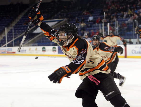 Beverly junior forward Jesse MacLaughlin (15) celebrates his first period goal against Tewksbury in the D2 North Final at the Tsongas Center at UMass Lowell on Monday evening. DAVID LE/Staff photo 3/10/14