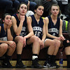 From left, Hamilton-Wenham ____ Lyons (33), senior captains Sam Charette (35), Sue Rose (15) and Haley Willis (4) can only watch as time ticks down in the Generals loss to Watertown in the D2 North Semifinal at Chelmsford High School on Thursday evening. DAVID LE/Staff photo