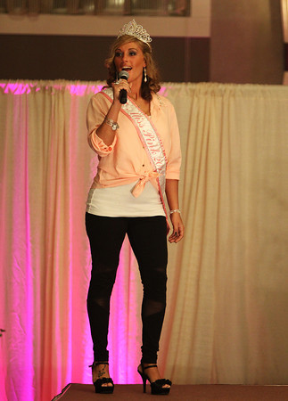 2013 Miss Pink Pageant Winner Kristina Darcangelo announces the 2014 contestants at the start of the 5th annual Miss Pink Pageant held at the Danversport Yacht Club on Saturday evening. DAVID LE/Staff photo 3/8/14