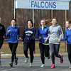The Danvers outdoor girls track team will be led by from left:  sophomore Erin St. Pierre (hurdles/sprints), junior Angela Caldarone (400/LJ/sprints),  junior Catalina Dominick (2-mile/distance), senior captain Ellen Tye (distance), and senior captain Jessica Driscoll (mile/distance) and junior Sophie Cawlina (100/sprints). DAVID LE/Staff photo