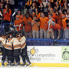 The Beverly High School hockey team celebrates senior captain Connor Irving's hat trick goal against Tewksbury in the second period of play during the D2 North Final at the Tsongas Center at UMass Lowell on Monday evening. Irving scored four goals and added an assist to lead the Panthers into the D2 State Final. DAVID LE/Staff photo 3/10/14