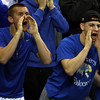 Danvers seniors Ryan Chasse, left, and Anthony Cordoba cheer on the Falcons as they took on New Mission at the Tsongas Center at UMass Lowell in the D2 North Final, ending the Falcons 14-game postseason win streak. DAVID LE/Staff photo 3/8/14