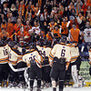 The Beverly Panthers celebrate their 9-1 win and D2 North Championship over Tewksbury with the Beverly faithful against the boards at the Tsongas Center at UMass Lowell on Monday evening. Beverly will advance to the D2 State Final to be played next Sunday at the TD Garden where the Panthers will take on South Division Champion Medfield. DAVID LE/Staff photo 3/10/14