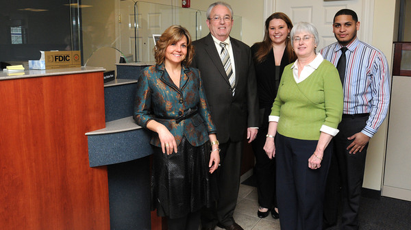 Ken Yuszkus/Staff photo: Peabody:  The North Shore Bank staff at 248 Andover St., Peabody are from left, Chrystal Silva, Mike Zellen, Bryana DeBruyckere, Terry Marcaurelle, and Wilson Vargas.