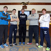 From left, St. John's Prep junior Michael Mejias (4x200 relay), senior Josh Nickerson (4x200 relay), junior Joe Luongo (400), senior Evan Dombrowski (shot put), and senior Tim Loehner (2 mile) will be making the trip to the Armory in New York for the New Balance Indoor National meet next weekend. DAVID LE/Staff photo