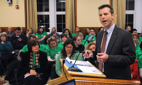 Ken Yuszkus/Staff photo: Salem:  Matt Spengler of Blueprint Schools Network speaks during the Salem School Committee meeting. The meeting was to discuss whether to turn the Bentley Elementary School over to a private turnaround firm.
