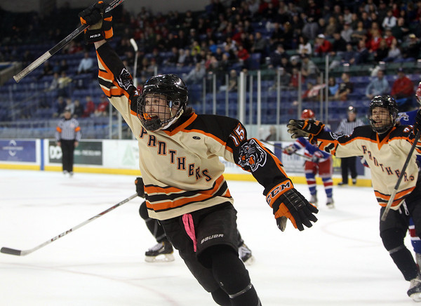 Beverly junior forward Jesse MacLaughlin (15) celebrates his first period goal with a fist pump during the D2 North Final at the Tsongas Center at UMass Lowell on Monday evening. DAVID LE/Staff photo 3/10/14