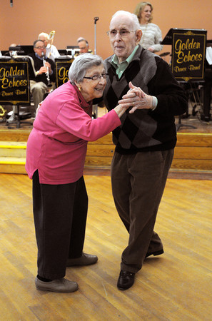 Ken Yuszkus/Staff photo:  Peabody: Frank and Nancy Clocher of Salem, dance to the music of the Golden Echoes Dance Band at the Peter A. Torigian Community Life Center in Peabody. Big band dancing happens every Thursday from 9:30 to 11:00 at the center.