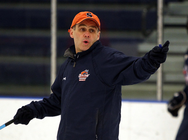 Longtime Salem State Men's Hockey head coach Bill O'Neill will look to point the Vikings in the right direction when they take on Norwich in the 1st round of the NCAA Tournament on Wednesday. DAVID LE/Staff photo 3/10/14
