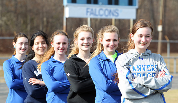 From right: The Danvers outdoor girls track team will be led by senior captains Jessica Driscoll (mile/distance) and Ellen Tye (distance), and will look for contributions from sophomore Erin St. Pierre (hurdles/sprints) and juniors Sophie Cawlina (100/sprints), Catalina Dominick (2-mile/distance), and Angela Caldarone (400/LJ/sprints). DAVID LE/Staff photo