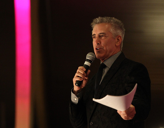 Billy Costa from Kiss 108 was the emcee for the 5th annual Miss Pink Pageant held at the Danversport Yacht Club on Saturday evening. DAVID LE/Staff photo 3/8/14