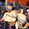 Beverly junior forward Brendan Boyle (6) puts his arm around sophomore teammate Sean Hanlon (24) after the Panthers 9-1 victory over Tewksbury in the D2 North Final at the Tsongas Center at UMass Lowell on Monday evening. Beverly dominated Tewksbury 9-1 to advance to the D2 State Final to be played next Sunday at the TD Garden where the Panthers will take on South Division Champion Medfield. DAVID LE/Staff photo 3/10/14
