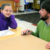 Ken Yuszkus/Staff photo: Danvers: Riverside School student Kyara Croteau speaks with Jason Verhoosky who is instructing the 5th grade class to design a mural in preparation of the Rail Trail Mural being painted later this year.