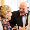 Mary Ann Jordan and Gary Leach, of Eastern Bank share a laugh during the 5th annual Gourmet Gala hosted at Acura of Peabody by the North Shore Medical Center to help raise money for the annual North Shore Cancer Walk/Run. DAVID LE/Staff photo