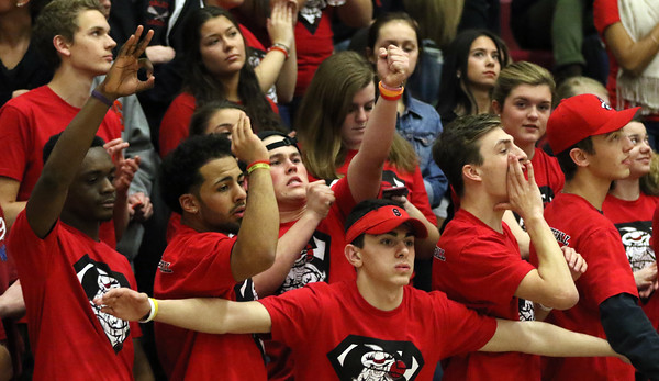 DAVID LE/Staff photo. Salem fans react to a three-pointer hit by the Witches against Chelsea in a blowout win. 3/3/16.