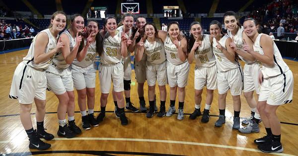 DAVID LE/Staff Photo. The Bishop Fenwick girls basketball team won the D3 State Championship. 3/19/16.