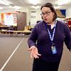 KEN YUSZKUS/Staff photo.    Music teacher Laurie Fabiszewski talks about the crowding problems in the modular classrooms at the Winthrop School.     03/28/16