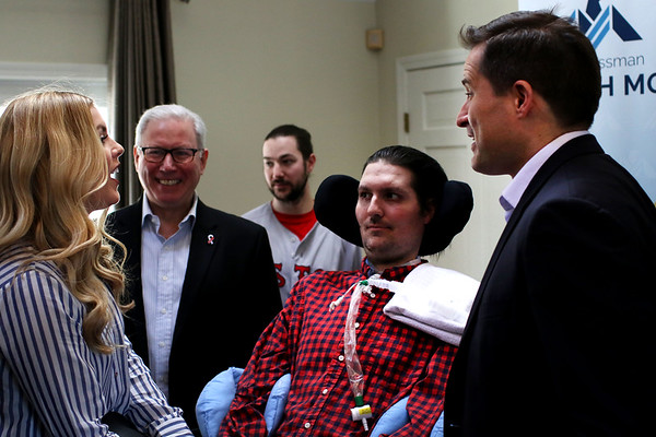 HADLEY GREEN/ Staff photo <br /> Congressman Seth Moulton (D-MA) speaks with ALS patient and advocate, Pete Frates and his wife, Julie, at a press conference for Moulton's ALS Disability Insurance Access Act on Saturday, March 4th, 2017.