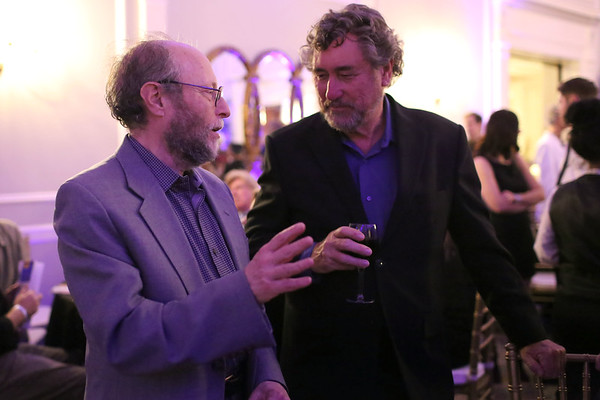 HADLEY GREEN/ Staff photo <br /> Frontline founder David Fanning speaks with WBUR's Ed Siegel at the Salem Film Fest opening gala. Fanning received the Salem Film Fest 2017 Storyteller Award at the event, held at Hawthorne Hotel on Thursday evening.