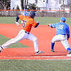 HADLEY GREEN/ Staff photo<br /> Salem State's Teghan Malionek (15) runs through first base at the Salem State v. Wheaton College men's varsity baseball at Salem State University on Thursday, March 30th, 2017.