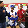 HADLEY GREEN/ Staff photo <br /> Former New England Patriots player Jermaine Wiggins answers questions from students about nutrition and exercise at the 'March Moo-ves' kick off event at the Collins Middle School in Salem on Tuesday, March 7th, 2017.