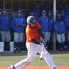 HADLEY GREEN/ Staff photo<br /> Salem State's Alex Toomey (17) hits the ball at the Salem State v. Wheaton College men's varsity baseball at Salem State University on Thursday, March 30th, 2017.