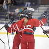 MASCO's Abby Gendron is congratulated after scoring against Marblehead at Salem State University, Saturday, December 29, 2018. Jared Charney / Photo