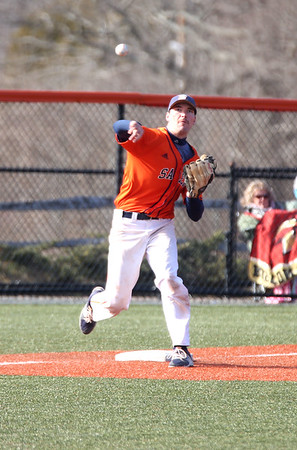 HADLEY GREEN/ Staff photo<br /> Salem State's Dan Connors (33) throws the ball at the Salem State v. Wheaton College men's varsity baseball at Salem State University on Thursday, March 30th, 2017.