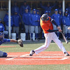 HADLEY GREEN/ Staff photo<br /> Salem State's Dan Connors (33) hits the ball at the Salem State v. Wheaton College men's varsity baseball at Salem State University on Thursday, March 30th, 2017.