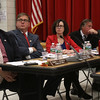 HADLEY GREEN/ Staff photo<br /> From left to right, City Council members Robert McCarthy, Steve Dibble, Heather Famico, Stephen Lovely, and Arthur Sargent listen while members of the public share their opinions about the Sanctuary for Peace ordinance.