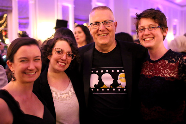 HADLEY GREEN/ Staff photo <br /> From left to right, Kylie Sullivan, Christine Delima, Rinus Oosthoek, and Shanna Langevin attend the Salem Film Fest opening gala at the Hawthorne Hotel on Thursday evening.