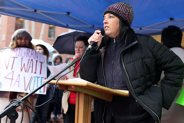 HADLEY GREEN/ Staff photo<br /> Salem Mayor Kim Driscoll speaks at a rally organized by Salem's No Place for Hate Committee in support of the city's proposed Sanctuary for Peace ordinance.