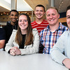 KEN YUSZKUS/Staff photo. Danvers High School students from left, Mike Plansky, Tre Crittendon, Erin Heald, Brendan Powers, Joe Poirier, and James Curley will be taking part in a Shark Tank challenge on May 14.         5/9/14