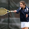 Swampscott senior Jessica Zolott concentrates while returning a serve against Salem in first doubles play on Tuesday afternoon. DAVID LE/Staff photo. 5/13/14.