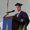 St. John's Prep senior class speaker Timothy Tully delivers his speech to his classmates during Commencement on Sunday afternoon at Ryken Field in Danvers. DAVID LE/Staff photo. 5/18/14.