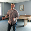 KEN YUSZKUS/Staff photo.  Patrick Cornell stands in the room where the new veterans resource center will be in the Ellison Campus Center at Salem State University. Patrick is head of student veterans group that got $10,000 grant to build a veterans resource center.    5/7/14