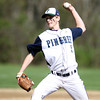 Pingree senior captain Robert VanTuyl (5) fires a strike against Lexington Christian Academy on Wednesday afternoon. DAVID LE/Staff photo. 5/14/14.