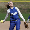 KEN YUSZKUS/Staff photo.  Danvers' pitcher Kendall Meehan on the pitching mound during the Danvers at Swampscott softball game.      5/7/14