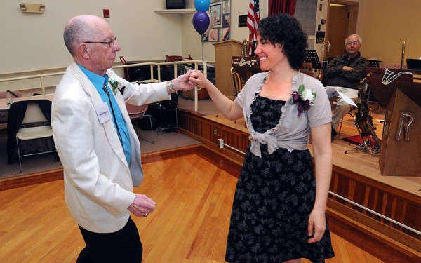 KEN YUSZKUS/Staff photo. Eventually winning 1st place, Beverly City Councilor, Ward 2, Estelle Rand dances with Walter Osgood during the Dancing with the Stars competition held at the Beverly Senior Center.      5/20/14