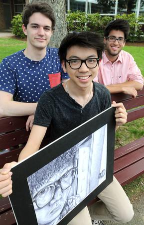 KEN YUSZKUS/Staff photo.  Hamilton-Wenham High Schoolers from left, are Ethan Whitman, Anthony Pham, and Alexander von Staats.      5/12/14