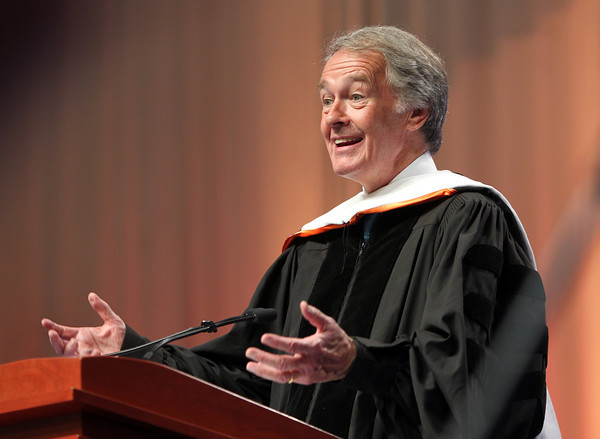 Senator Ed Markey gives the Commencement Address to the Salem State University Class of 2014 on Saturday afternoon. DAVID LE/Staff photo. 5/18/14.